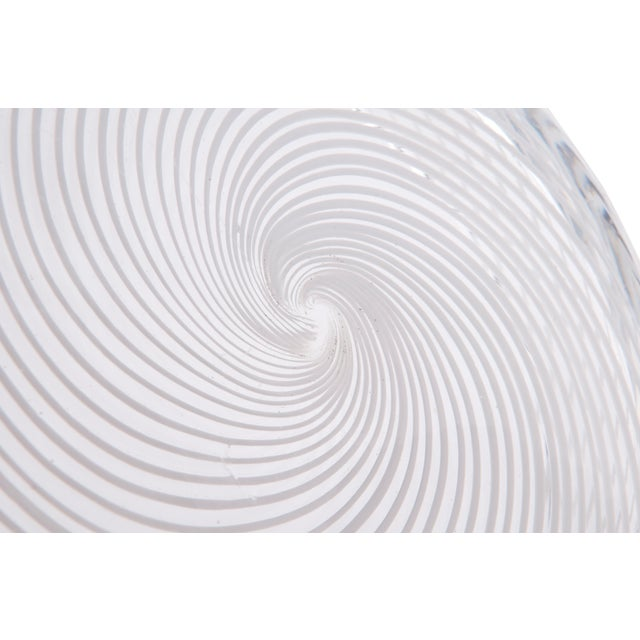 Spiral White & Clear Murano Glass Dish For Sale - Image 5 of 6