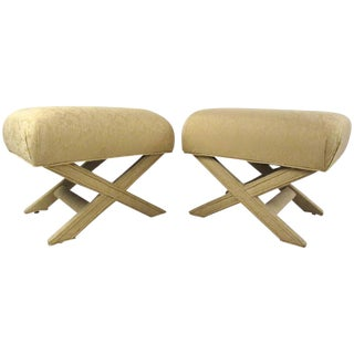 "Pair of Mid-Century ""X"" Frame Upholstered Ottomans For Sale"