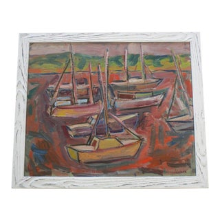 Anders Aldrin Painting Regionalism Wpa Style Modernism Abstract Marina Boats For Sale