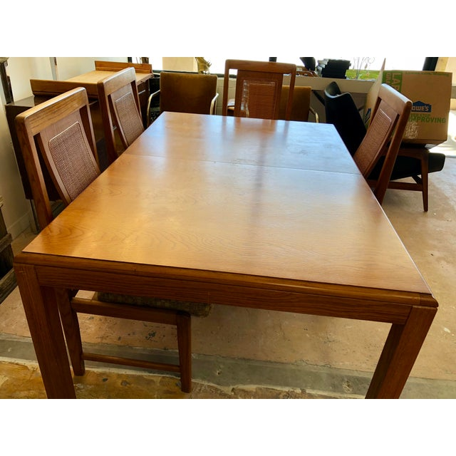1970s Sears & Roebuck Oak Dining Table with 6 Chairs For Sale - Image 9 of 10