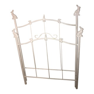 2010s Cottage Corsican Bunny Finial Wrought Iron Headboard & Footboard