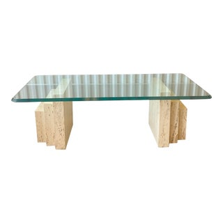 1980s Stepped Travertine With Waterfall Edge Glass Coffee Table For Sale