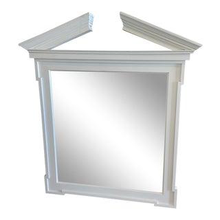1990s Neoclassical Off-White Broken Pediment Design Mirror For Sale