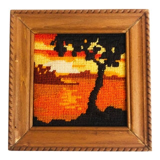 Vintage 1970s Sunset Tree Cross Stitch Wall Hanging For Sale