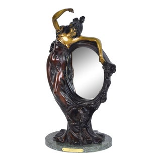 Auguste Moreau Style Cold-Painted Bronze Table Mirror For Sale