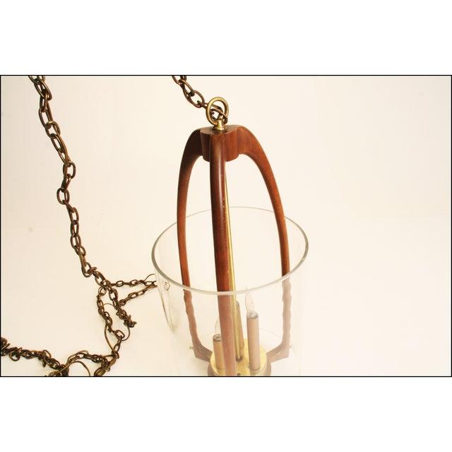 Danish Modern Sculptural Wood & Glass Fixture - Image 3 of 11