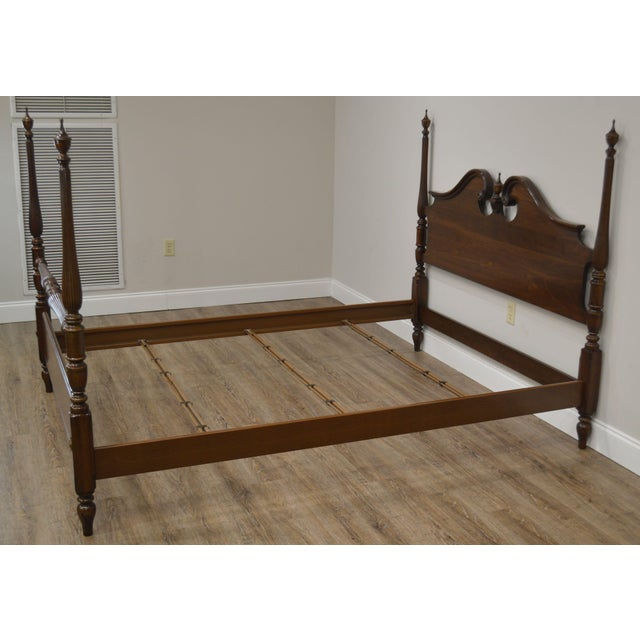 Ethan Allen Georgian Court Solid Cherry Queen Poster Bed For Sale - Image 10 of 13