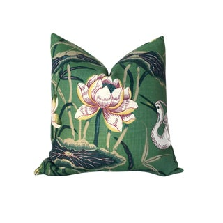 Chinoiserie Lotus Jade Green Garden Pillow Cover For Sale
