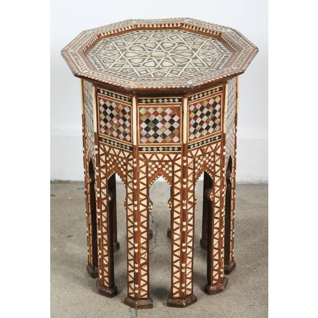Islamic Pair of Syrian Octagonal Tables Inlaid with Mother-Of-Pearl For Sale - Image 3 of 10