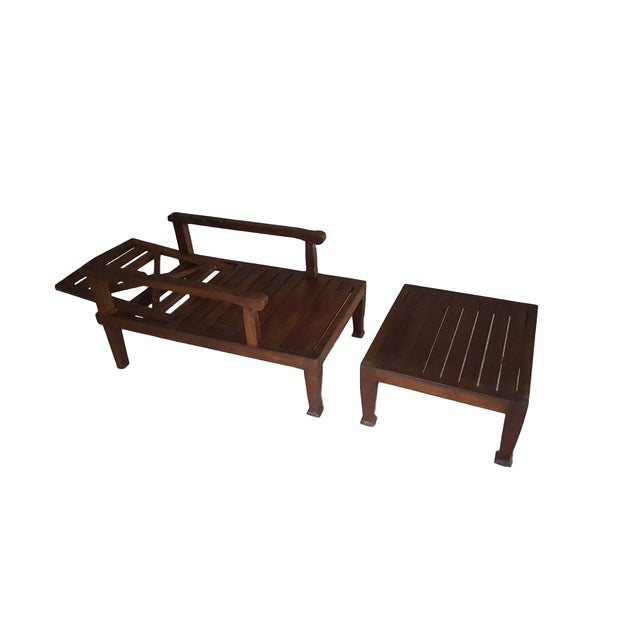 Teak Wood Reclining Luxury Lounger With Ottoman For Sale - Image 4 of 6