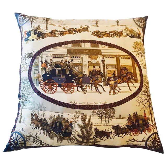 Hollywood Regency Style Hermes 'The Bull and Mouth Regents Circus' Silk Pillow For Sale