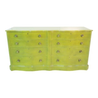 Mid-Century Modern Green Lacquer Chest of Drawers For Sale