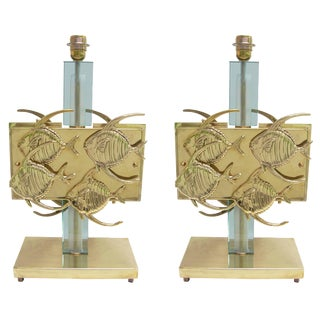 1970s Italian Vintage Aqua Blue Glass and Bronze Fish Table Lamps - a Pair For Sale