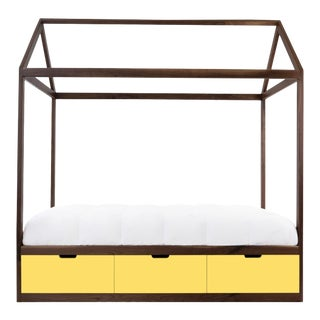 Nico & Yeye Domo Zen Twin Canopy Bed Made of Solid Walnut Yellow Drawers For Sale
