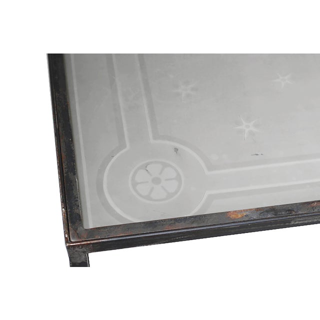 French 1900 Vintage French Etched Glass and Steel Coffee Table For Sale - Image 3 of 7