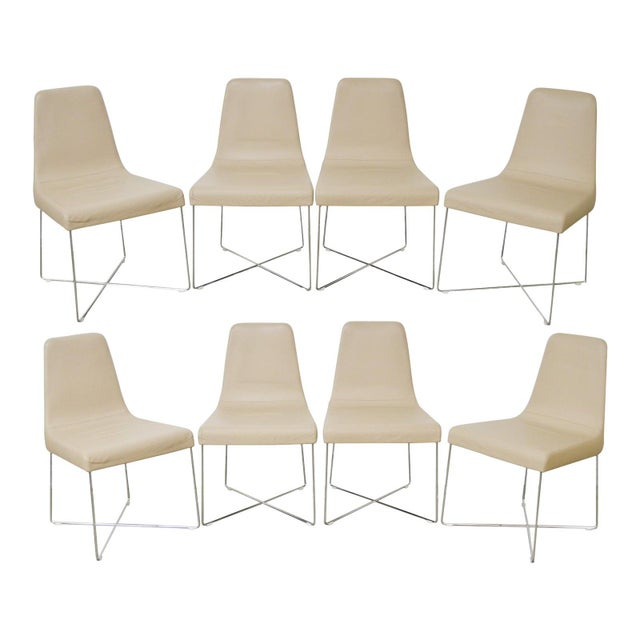Ligne Roset Classic Modern Chrome & Leather Dining Chairs - Set of 8 For Sale - Image 10 of 10
