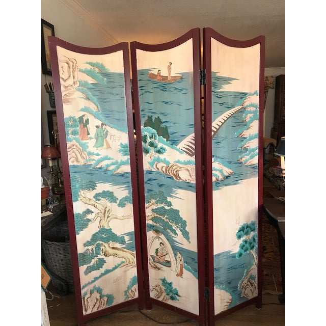 Asian 1960s Asian 3-Panel Screen For Sale - Image 3 of 11