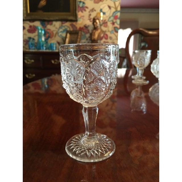 Vintage Pressed Glass Decanter With Goblets Wine Set For Sale - Image 11 of 12