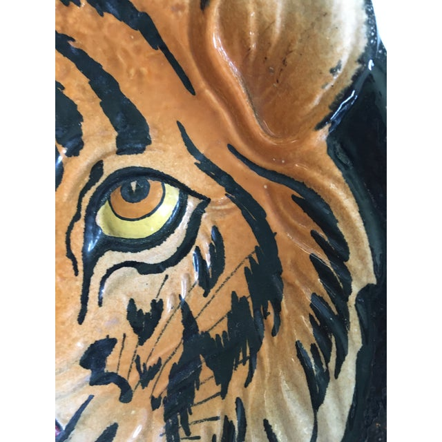 Orange Mid 20th Century Italian Mid-Century Tiger Face Pottery Bowl/Catchall For Sale - Image 8 of 13
