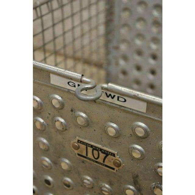 Vintage Kaspar Industrial Wire Works Metal Perforated Storage Gym Locker Basket For Sale - Image 10 of 12
