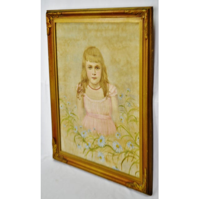 Antique Framed Victorian Style Painting on Canvas of Young Girl - Artist Signed For Sale - Image 12 of 13