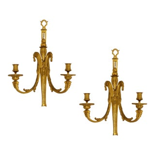 Pair of Antique Louis XVI Style Bronze Sconces For Sale