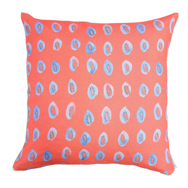 """Blue Kiwis on Bright Coral Linen Pillow - 16"""" x 20"""" - Image 1 of 4"""