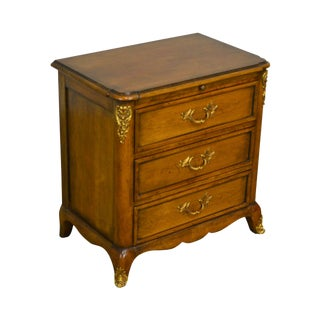 Bodart French Louis XV Style Walnut 3 Drawer Chest Nightstand For Sale