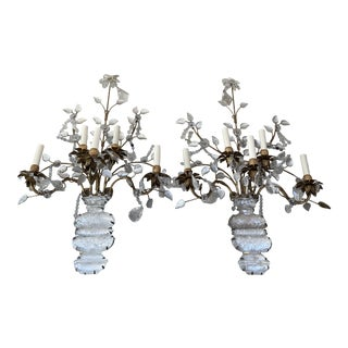 Rock Crystal Sconces Attributed to Maison Baques For Sale