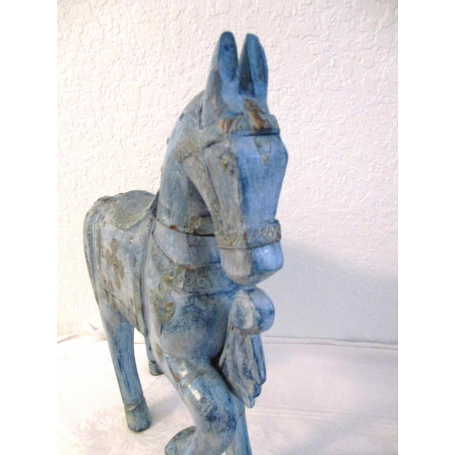 1980s 1990s Antique Blue Wood & Brass Tang Stallion For Sale - Image 5 of 8