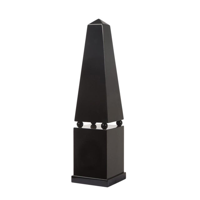Large Black Lacquer Floor Obelisk With Pedestal For Sale