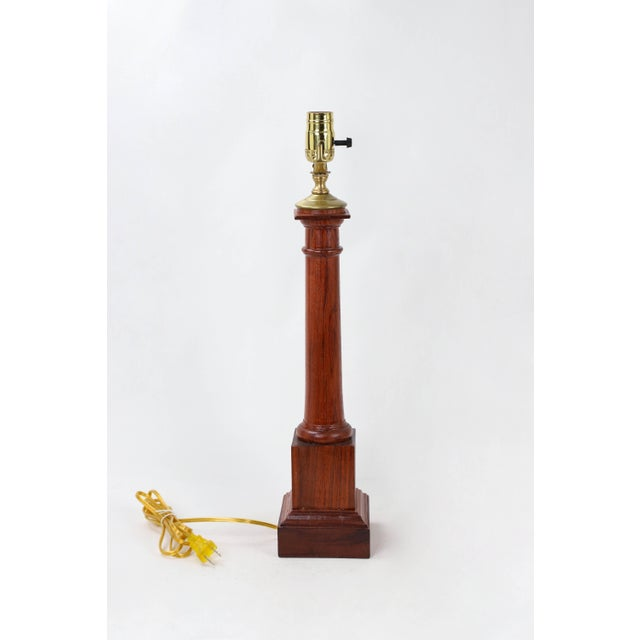 1970s Wooden Column Lamp With a Cherry Stain For Sale - Image 5 of 10