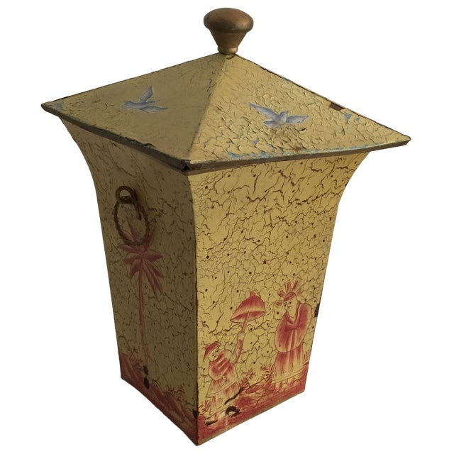 Crackled Yellow & Red Tole Box - Image 1 of 5