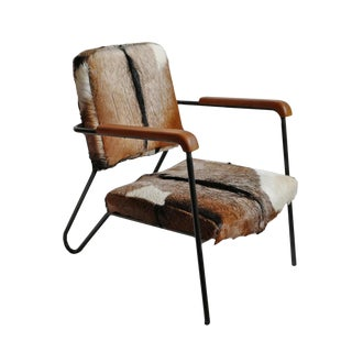 Austin Stripe Hide Arm Chair For Sale