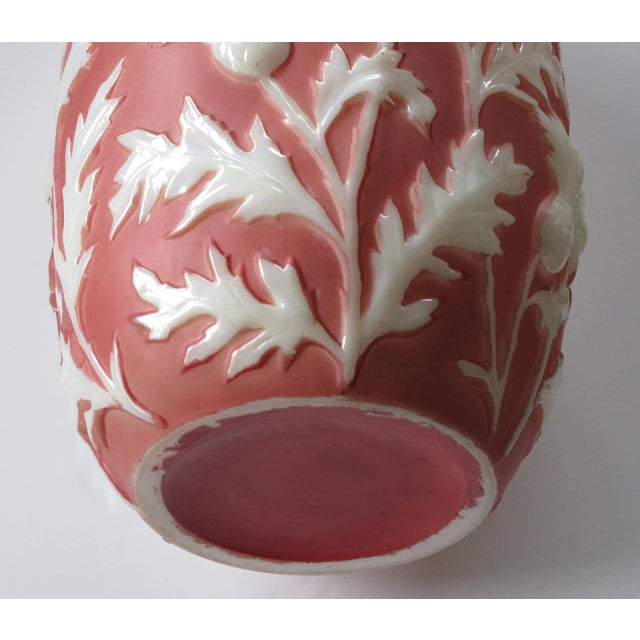1960s Tall American Sculpted Art Glass Vase with Raised Meandering Thistle Branches For Sale - Image 5 of 5