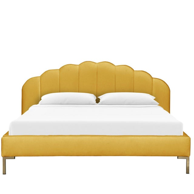 Art Deco Full Shell Platform Bed in Monaco Citronella For Sale - Image 3 of 7