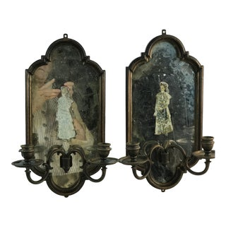 Vintage Mercury Mirror Collage Wall Double Armed Brass Wood Candle Sconces For Sale