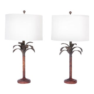 Midcentury Tole Palm Tree Table Lamps - A Pair For Sale