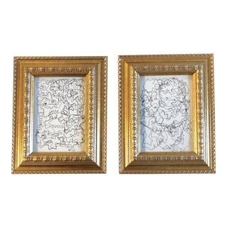 Gallery Wall Collection 2 Vintage Wayne Cunningham Abstract Ink Drawings Ornate Frames - Set of 2 For Sale