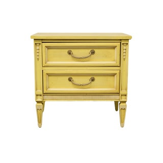 20th Century French Provincial Stanley Furniture Painted Cream Two Drawer Nightstand For Sale