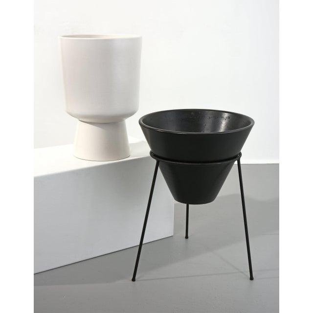 La Gardo Tackett for Architectural Pottery black cone in stand, Model S-04 Architectural Pottery, 1960s Matte black glaze,...