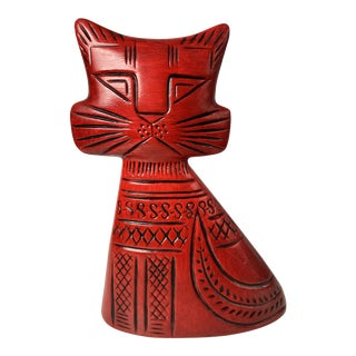 Vintage Mid-Century Modern Hedi Schoop Red Turnabout Cat For Sale