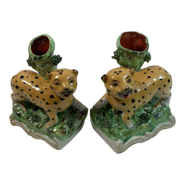 Vintage Staffordshire Style Leopard Spill Vases - a Pair For Sale