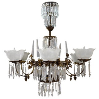 Rod-Hung Renaissance Style Brass and Crystal Gas Chandelier For Sale