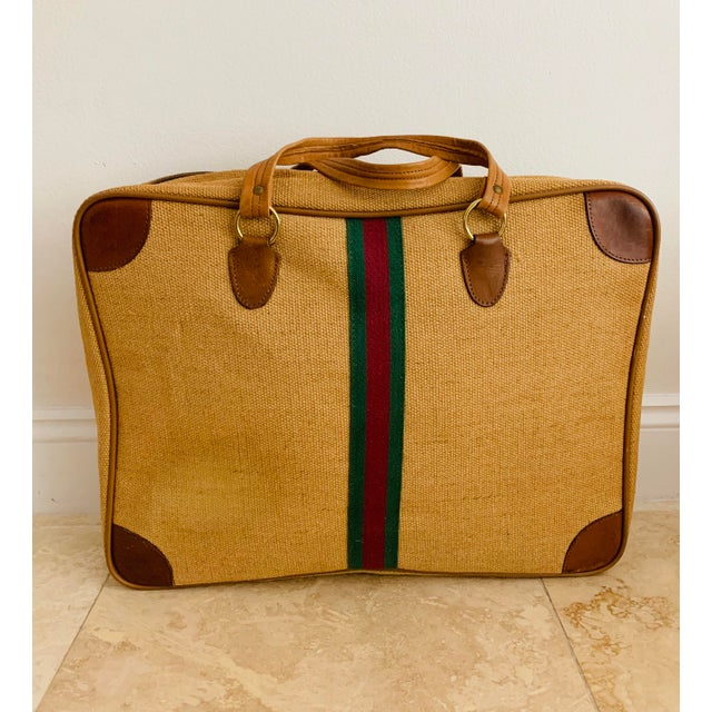 Mid 20th Century Vintage Italian Style Travel Set of 3 Luggage Jute and Leather, the 3 Pieces For Sale - Image 5 of 13