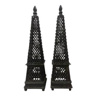 Ornamental Brass Obelisks - a Pair For Sale