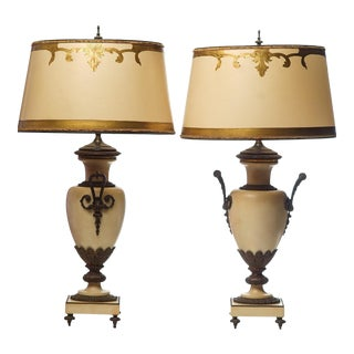 19th C. French Bronze Mounted Marble Urn Lamps - a Pair For Sale