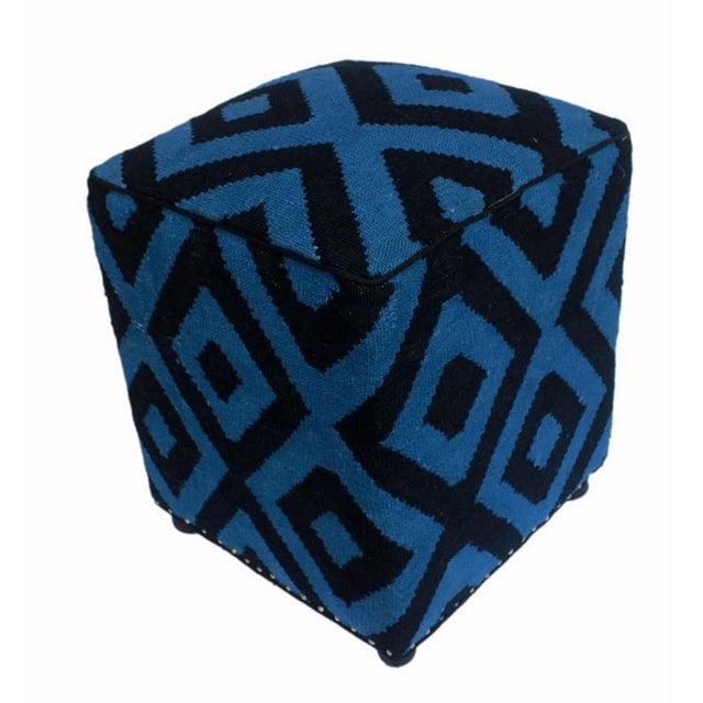 1990s Shabby Chic Arshs Deloris Lt. Teal/Black Kilim Upholstered Handmade Ottoman For Sale - Image 5 of 8