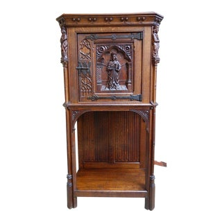 Antique French Carved Oak Gothic Vestment Cabinet For Sale