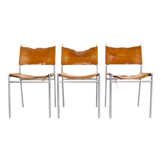 Martin Visser 'Se06' Dining Chairs in Cognac Leather For Sale